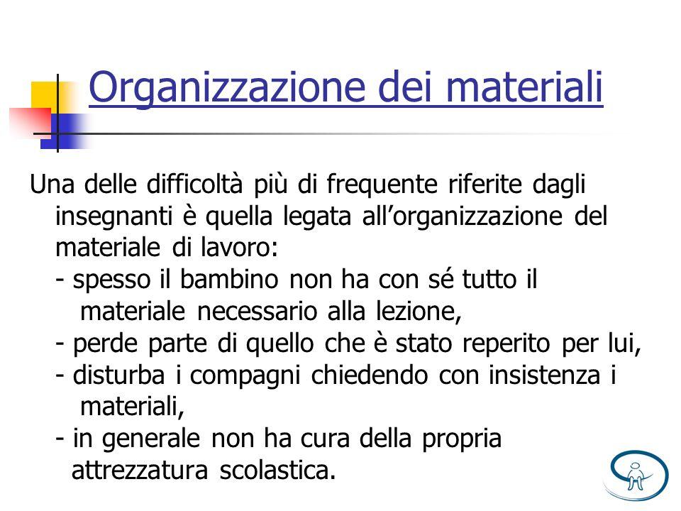 Organizzazione dei materiali