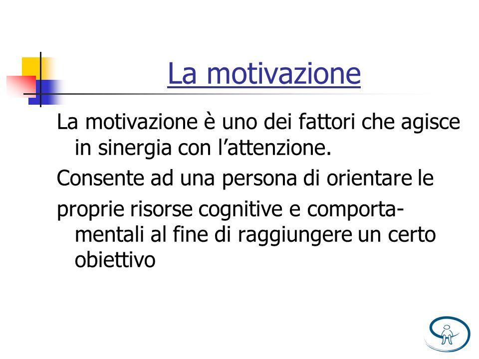La motivazione La motivazione è uno dei fattori che agisce in sinergia con l'attenzione. Consente ad una persona di orientare le.