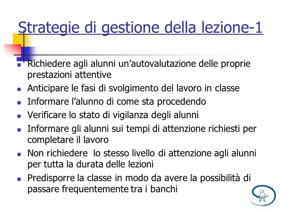 Strategie di gestione della lezione-1