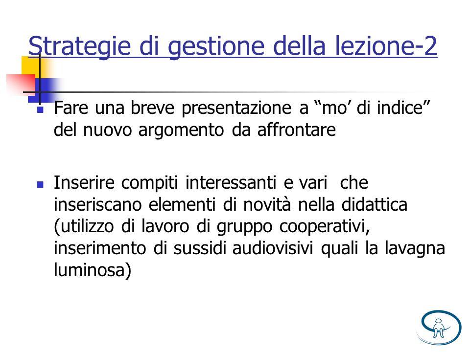 Strategie di gestione della lezione-2