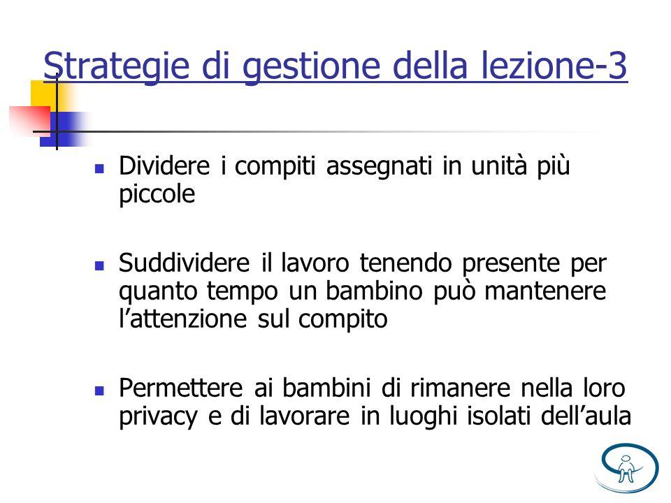 Strategie di gestione della lezione-3