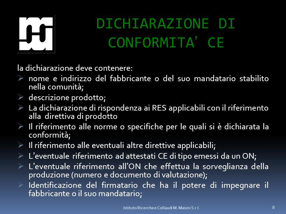 DICHIARAZIONE DI CONFORMITA' CE