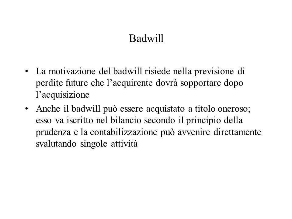 Badwill La motivazione del badwill risiede nella previsione di perdite future che l'acquirente dovrà sopportare dopo l'acquisizione.