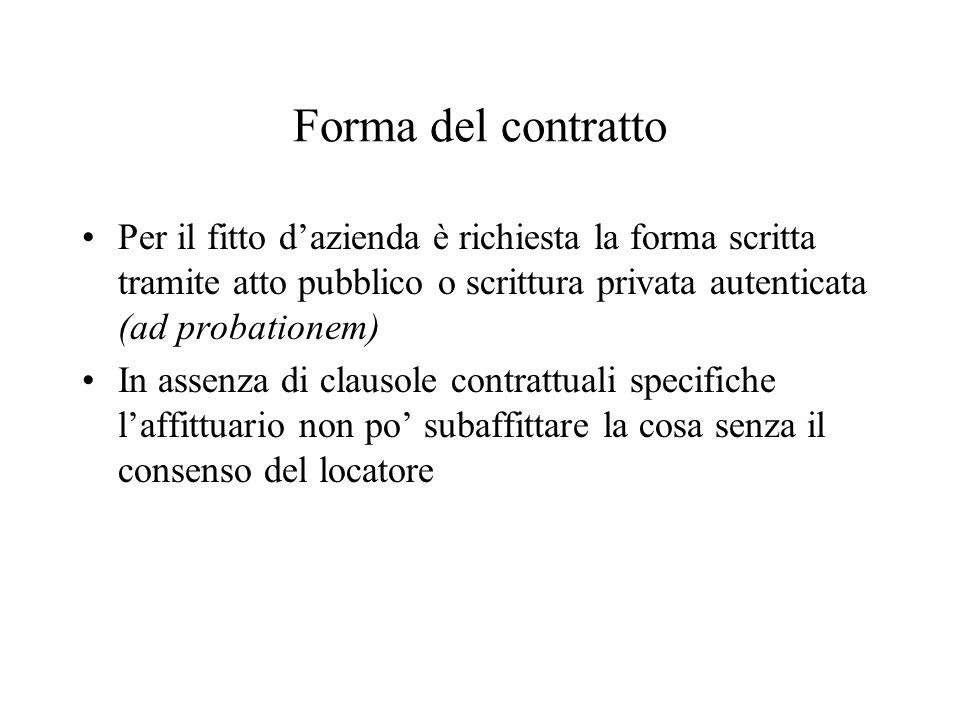 Forma del contratto Per il fitto d'azienda è richiesta la forma scritta tramite atto pubblico o scrittura privata autenticata (ad probationem)