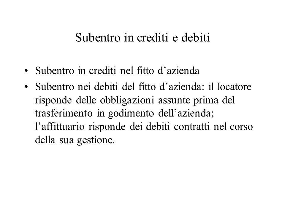 Subentro in crediti e debiti