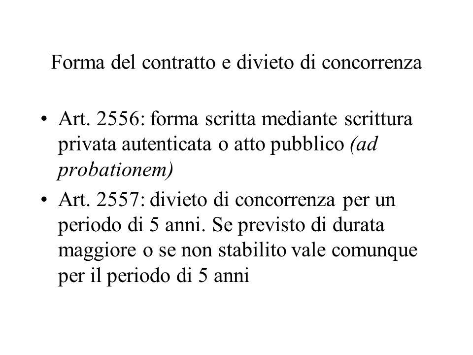 Forma del contratto e divieto di concorrenza