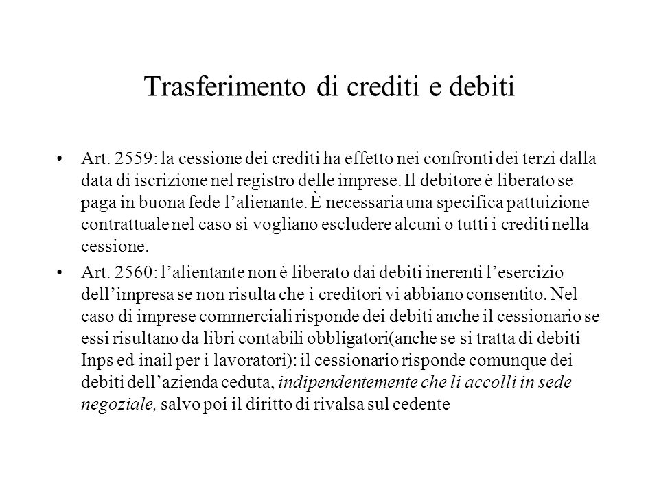 Trasferimento di crediti e debiti