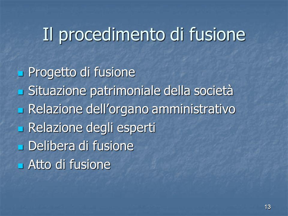 Il procedimento di fusione