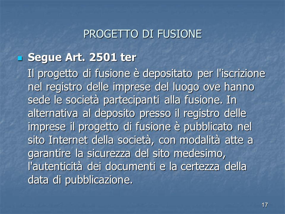 PROGETTO DI FUSIONESegue Art. 2501 ter.