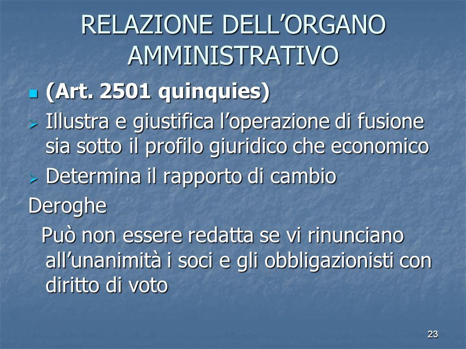 RELAZIONE DELL'ORGANO AMMINISTRATIVO