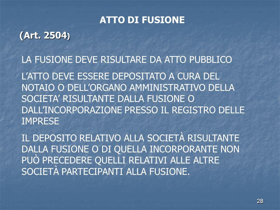 ATTO DI FUSIONE (Art. 2504) LA FUSIONE DEVE RISULTARE DA ATTO PUBBLICO.