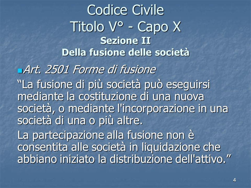 Codice Civile Titolo V° - Capo X Sezione II Della fusione delle società