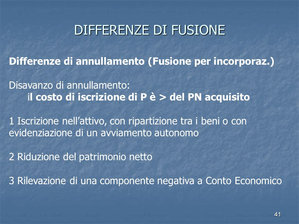 DIFFERENZE DI FUSIONEDifferenze di annullamento (Fusione per incorporaz.) Disavanzo di annullamento: