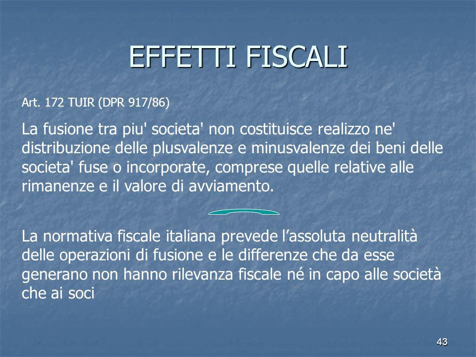 EFFETTI FISCALI Art. 172 TUIR (DPR 917/86)