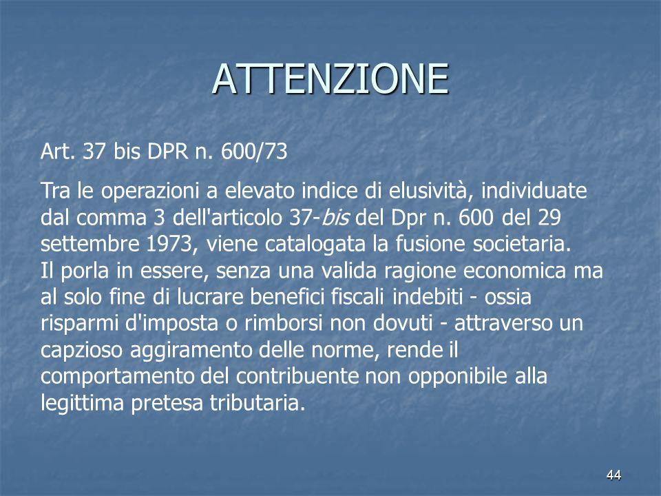 ATTENZIONE Art. 37 bis DPR n. 600/73