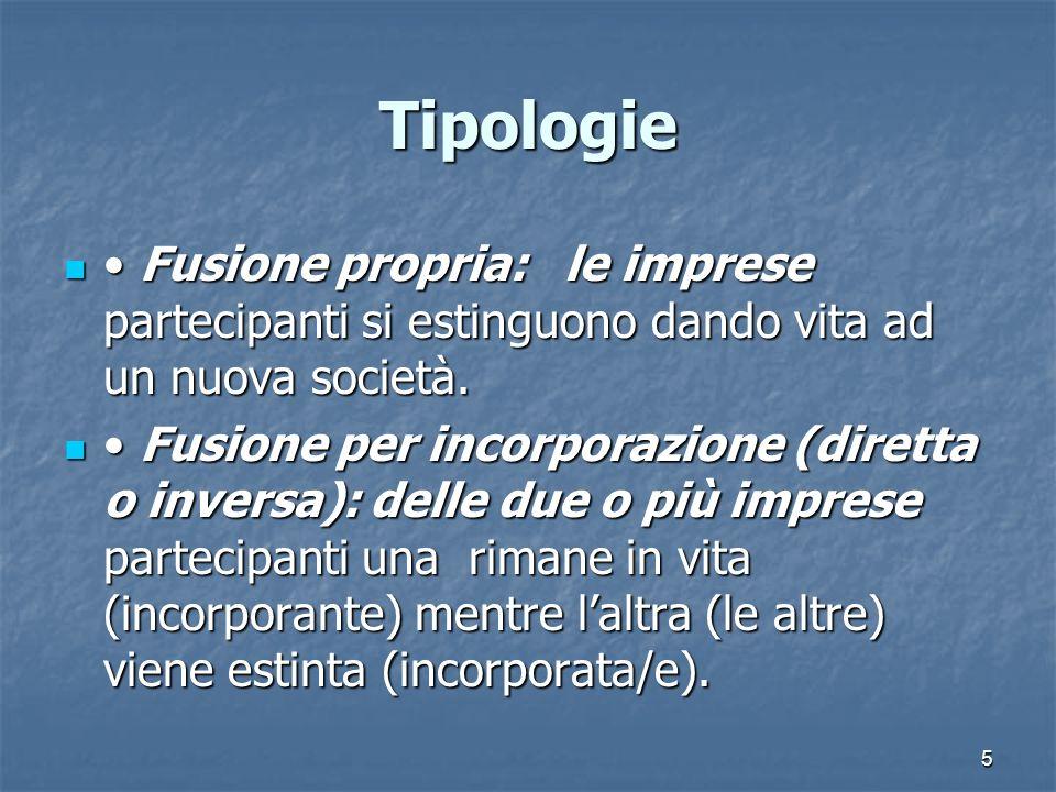 Tipologie • Fusione propria: le imprese partecipanti si estinguono dando vita ad un nuova società.