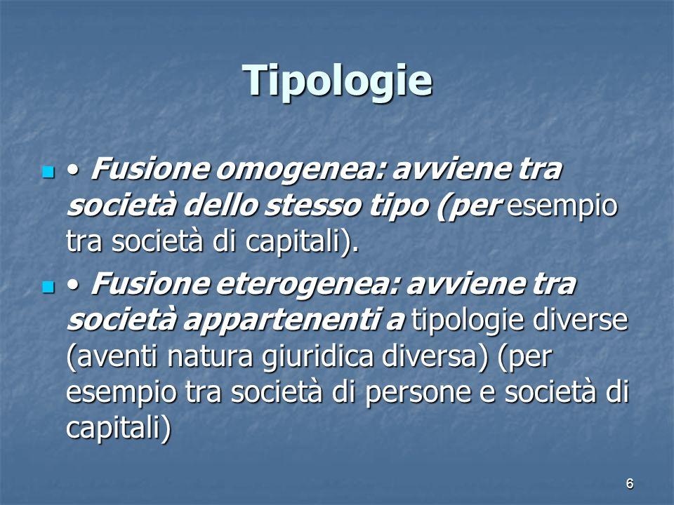 Tipologie• Fusione omogenea: avviene tra società dello stesso tipo (per esempio tra società di capitali).