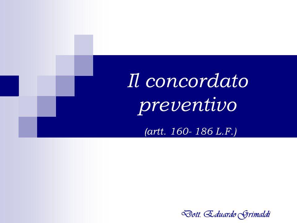 Il concordato preventivo (artt. 160- 186 L.F.)