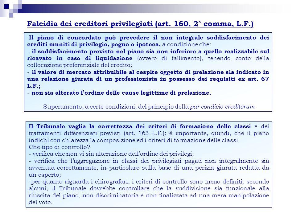 Falcidia dei creditori privilegiati (art. 160, 2° comma, L.F.)