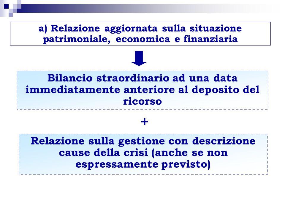 a) Relazione aggiornata sulla situazione patrimoniale, economica e finanziaria