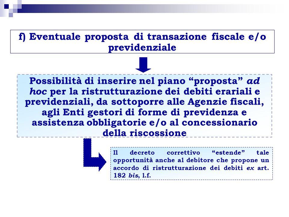 f) Eventuale proposta di transazione fiscale e/o previdenziale