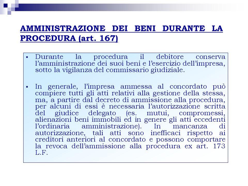 AMMINISTRAZIONE DEI BENI DURANTE LA PROCEDURA (art. 167)