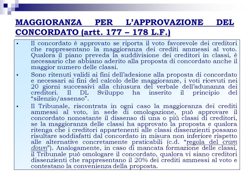 MAGGIORANZA PER L'APPROVAZIONE DEL CONCORDATO (artt. 177 – 178 L.F.)