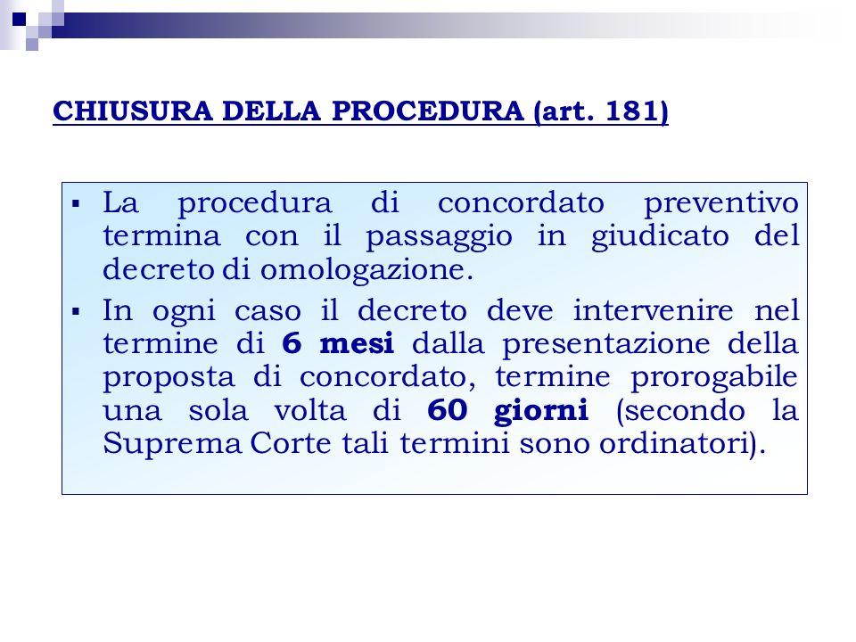 CHIUSURA DELLA PROCEDURA (art. 181)