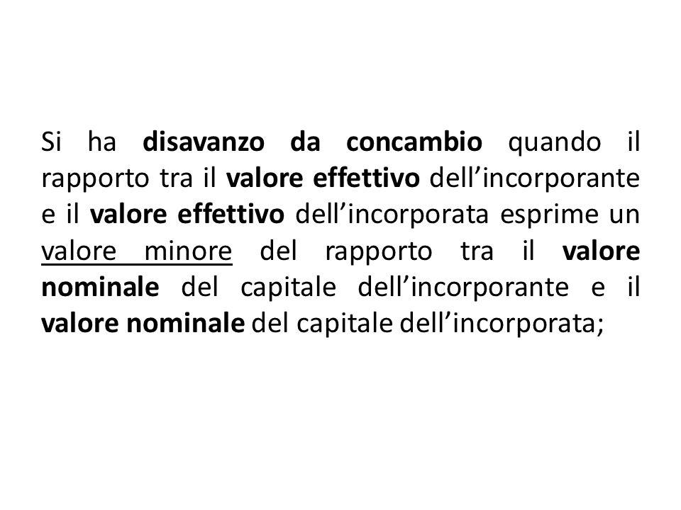 Si ha disavanzo da concambio quando il rapporto tra il valore effettivo dell'incorporante e il valore effettivo dell'incorporata esprime un valore minore del rapporto tra il valore nominale del capitale dell'incorporante e il valore nominale del capitale dell'incorporata;