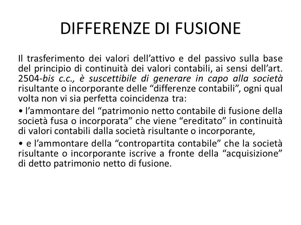 DIFFERENZE DI FUSIONE