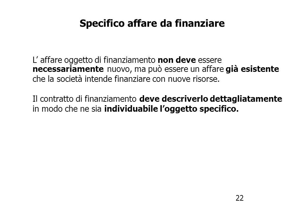 Specifico affare da finanziare