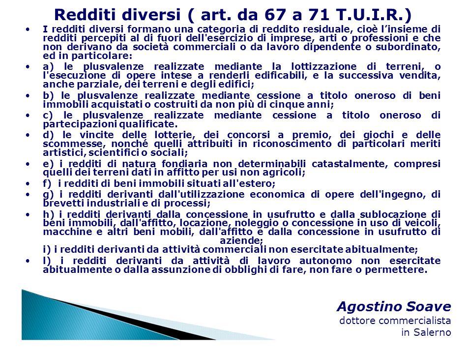 Redditi diversi ( art. da 67 a 71 T.U.I.R.)