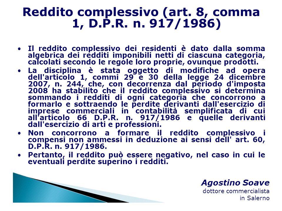 Reddito complessivo (art. 8, comma 1, D.P.R. n. 917/1986)