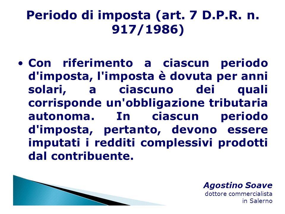 Periodo di imposta (art. 7 D.P.R. n. 917/1986)