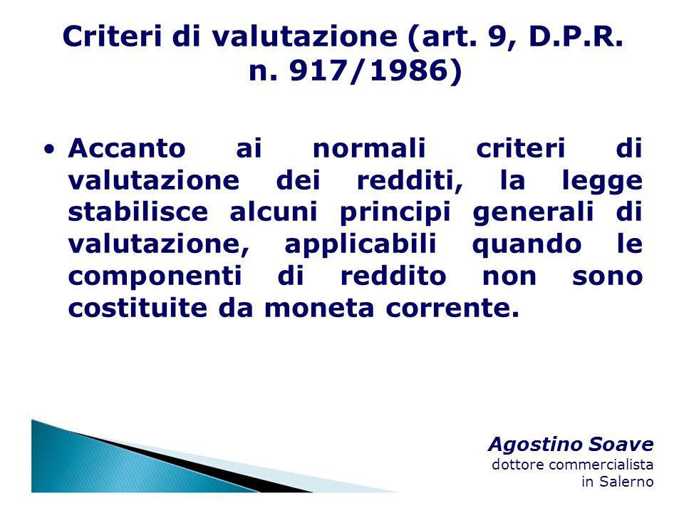 Criteri di valutazione (art. 9, D.P.R. n. 917/1986)