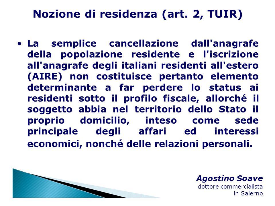 Nozione di residenza (art. 2, TUIR)