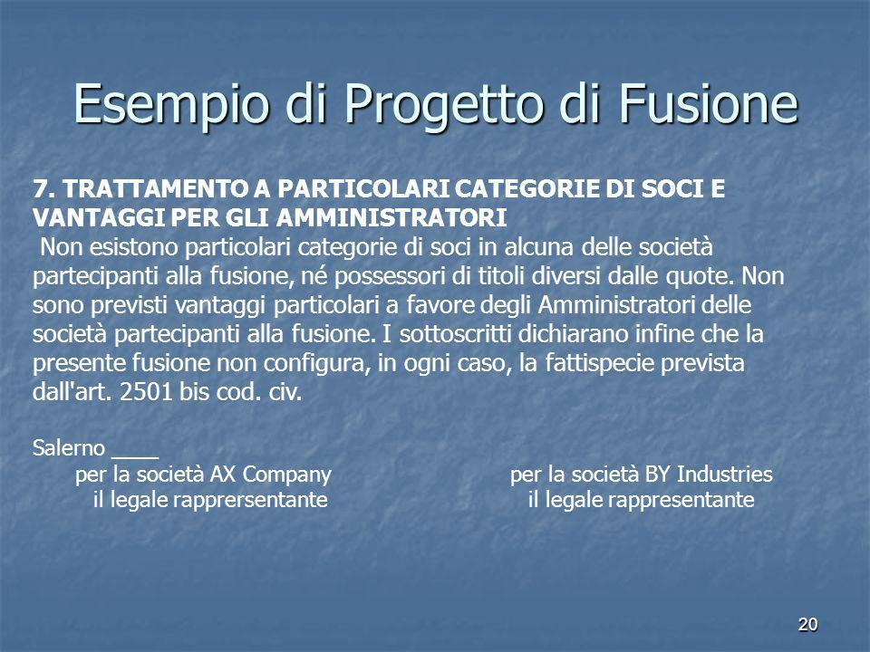 Esempio di Progetto di Fusione