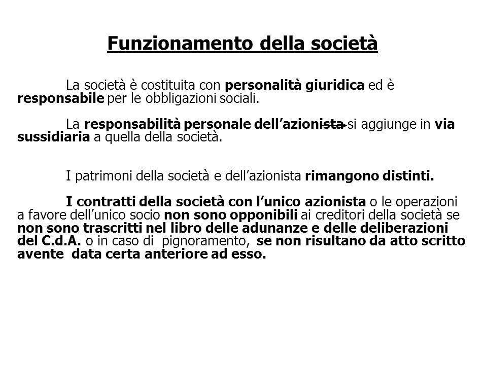 Funzionamento della società