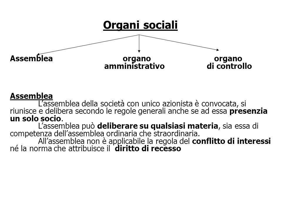 Organi sociali Assemblea organo organo amministrativo di controllo