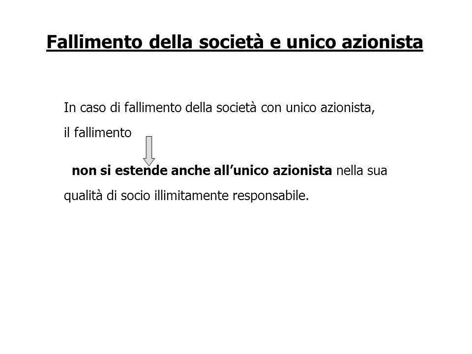 Fallimento della società e unico azionista