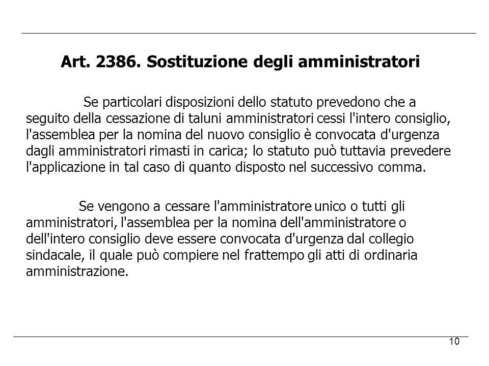 Art. 2386. Sostituzione degli amministratori