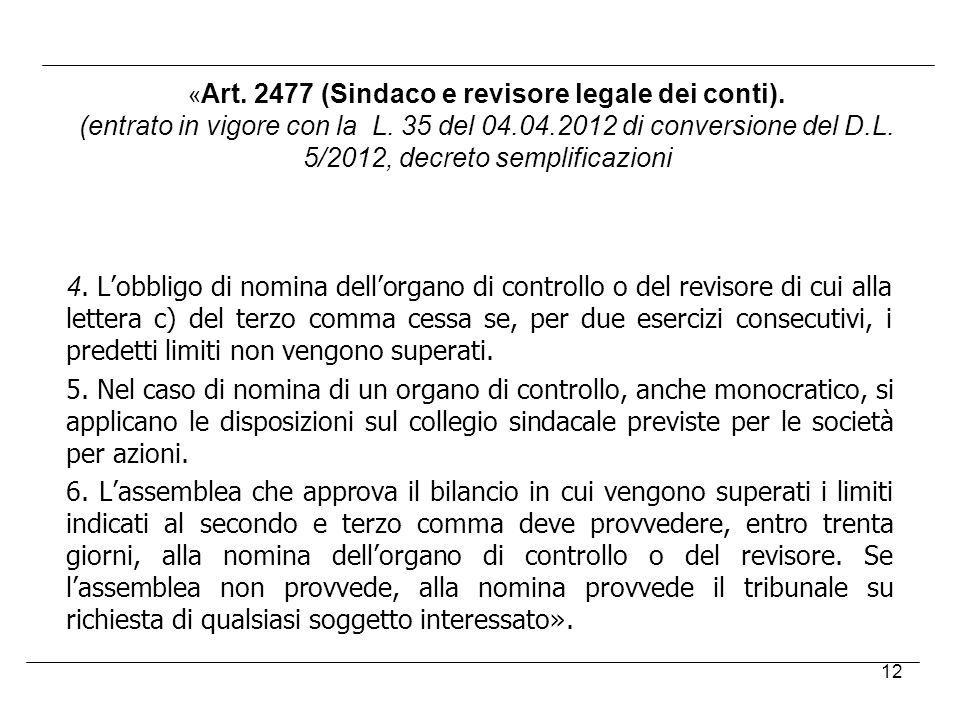 «Art. 2477 (Sindaco e revisore legale dei conti).