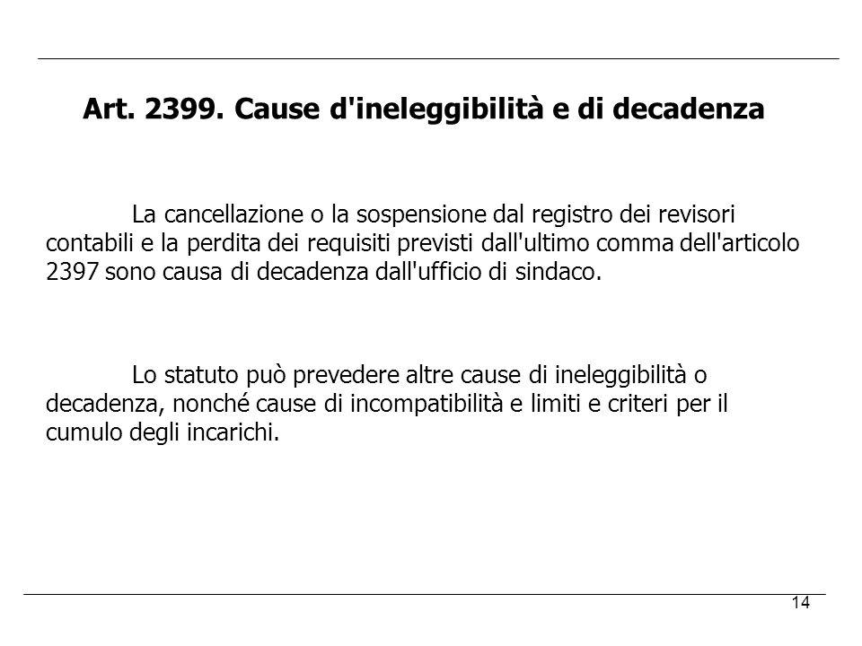 Art. 2399. Cause d ineleggibilità e di decadenza