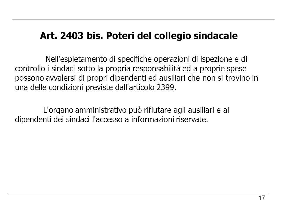 Art. 2403 bis. Poteri del collegio sindacale