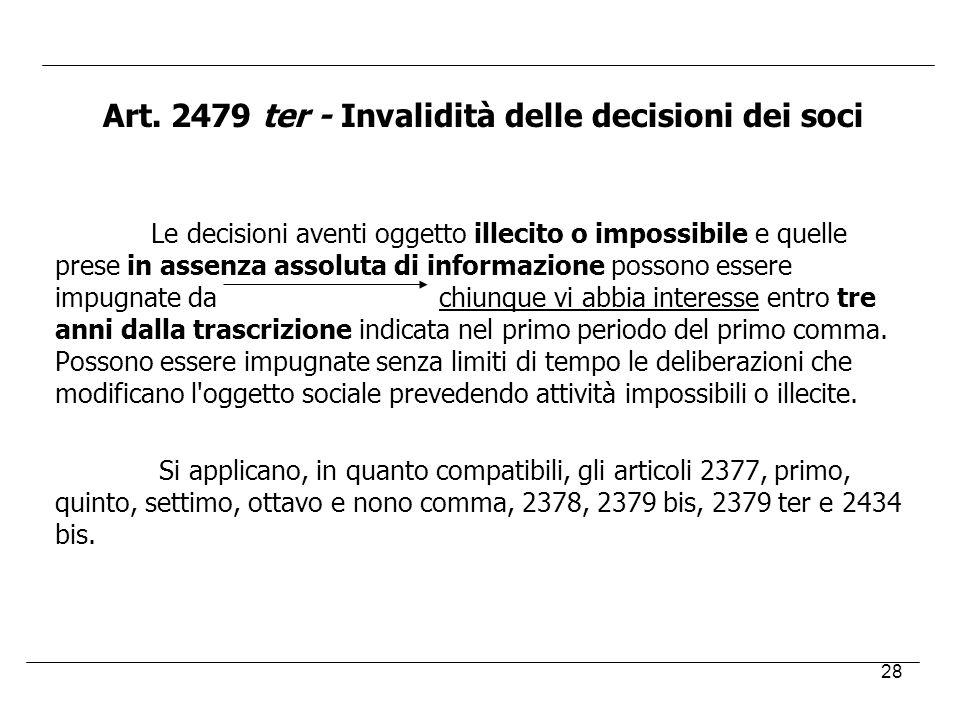 Art. 2479 ter - Invalidità delle decisioni dei soci