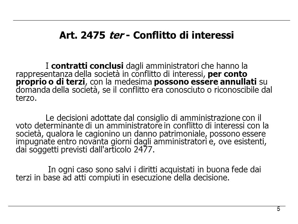 Art. 2475 ter - Conflitto di interessi