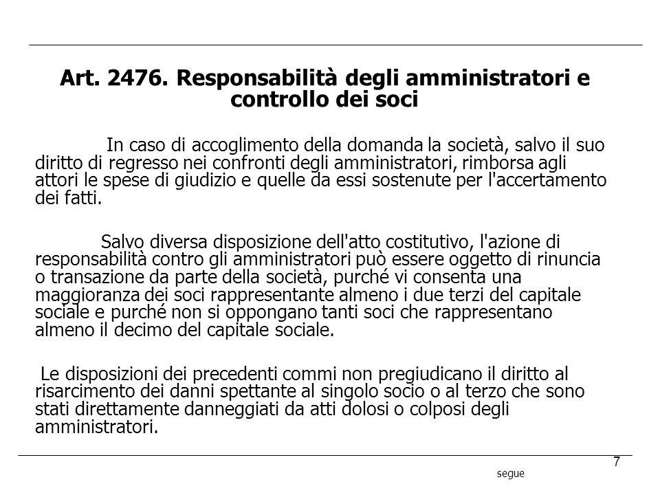 Art. 2476. Responsabilità degli amministratori e controllo dei soci
