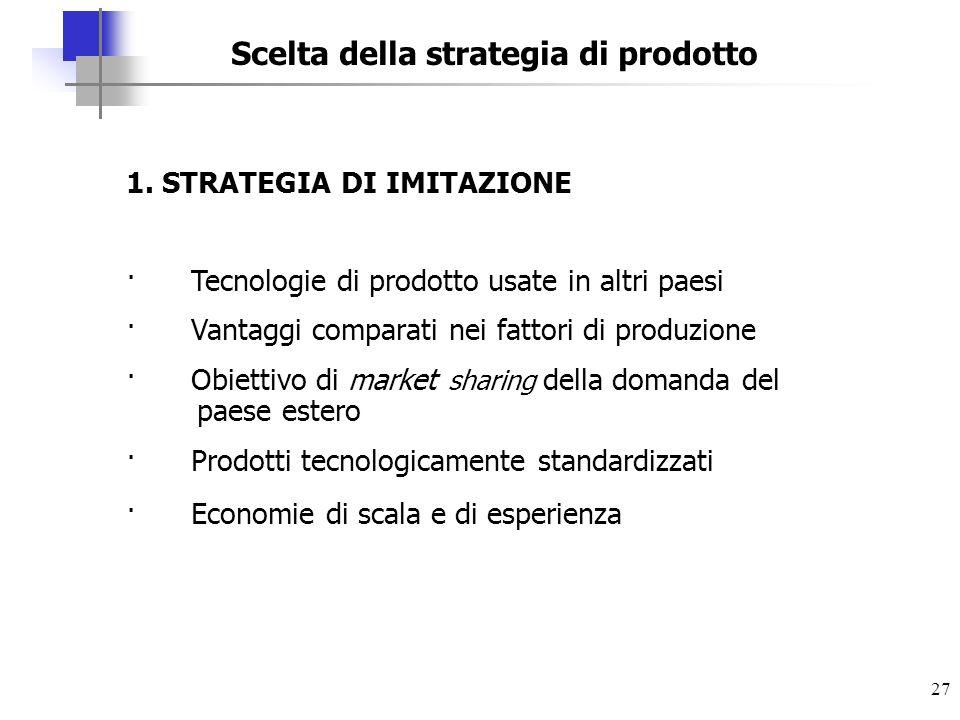 Scelta della strategia di prodotto