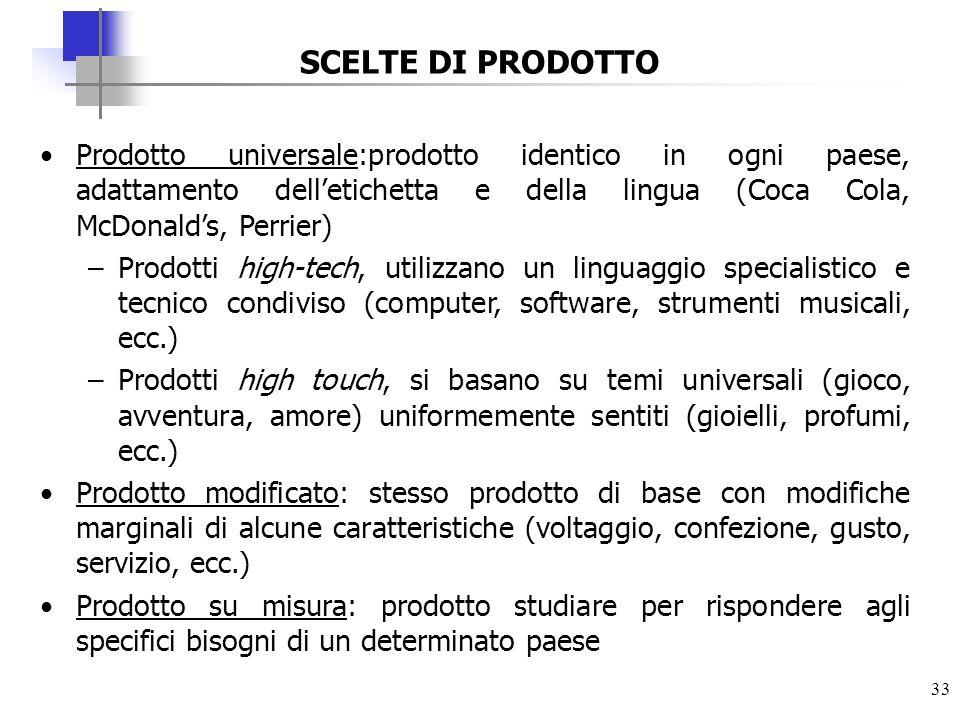 SCELTE DI PRODOTTOProdotto universale:prodotto identico in ogni paese, adattamento dell'etichetta e della lingua (Coca Cola, McDonald's, Perrier)