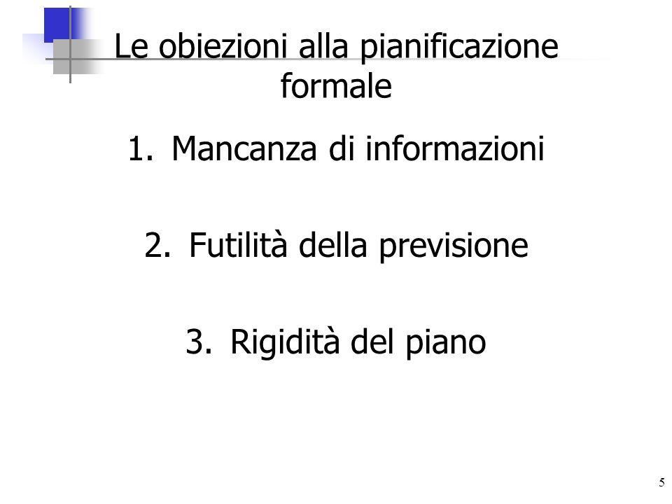 Le obiezioni alla pianificazione formale